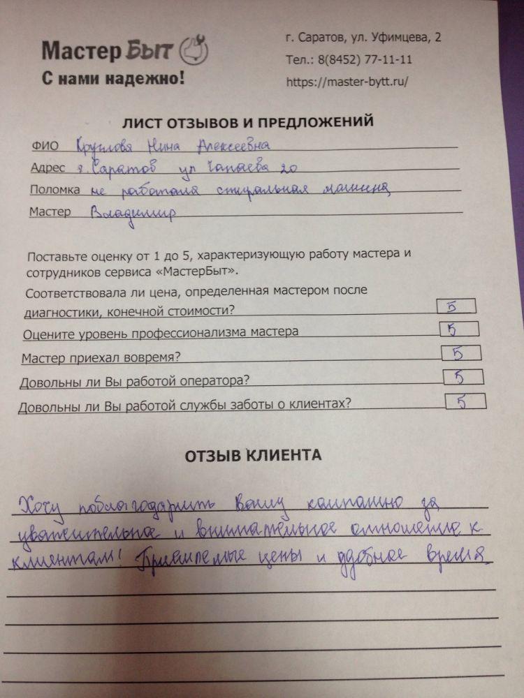 Нина Алексеевна, Саратов